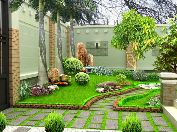 Cách bài trí lối đi vào trong phong thủy sân vườn