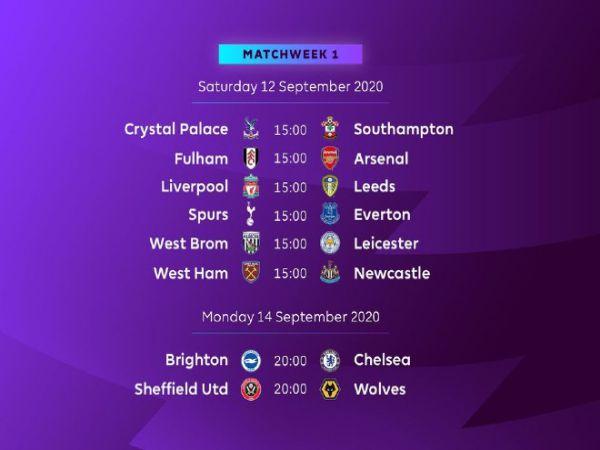 Tin bóng đá chiều 21/8: Lịch thi đấu chính thức Ngoại hạng Anh 2020/21