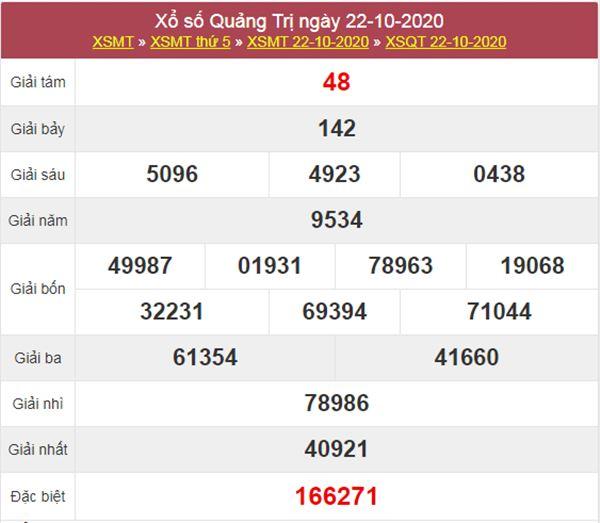 Thống kê XSQT 29/10/2020 chốt lô bạch thủ Quảng Trị thứ 5