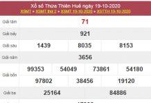Thống kê XSTTH 26/10/2020 chốt lô VIP Huế thứ 2 chính xác