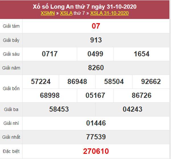 Thống kê XSLA 7/11/2020 chốt đầu đuôi giải đặc biệt thứ 7
