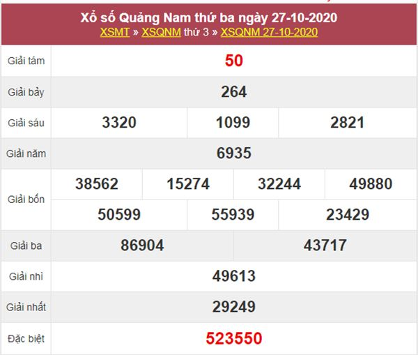 Thống kê XSQNM 3/11/2020 chốt lô bạch thủ Quảng Nam thứ 3