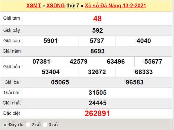 Thống kê XSDNG ngày 17/2/2021