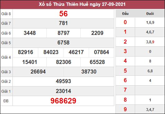 Thống kê xổ số Thừa Thiên Huế ngày 4/10/2021 hôm nay thứ 2